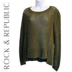 ROCK & REPUBLIC Green Open Knit Studded Sweater, S